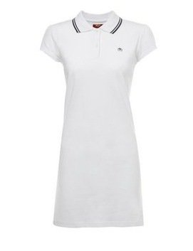 Merc Kara Polo Shirt Tennis Dress White with Black Tipping Mod Indie Soul BNWT