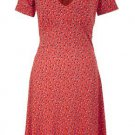 French Connection Vintage 40s Style Calypso Flared Jersey Print Tea Dress RRP£72