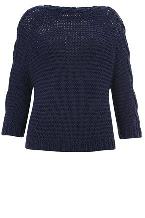 French Connection Connie Cable Cotton Chunky Raglan Jumper Sweater Navy RRP £87