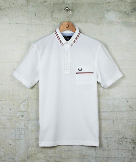 Fred Perry Slim Fit Grosgrain Tape Polo Shirt M9326 White S-XL