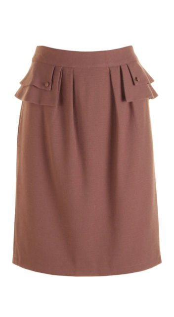 Darling Adelina Vintage 40's Style Fitted Peplum Skirt Toffee Brown Suit XS M L