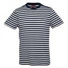 Merc Benson Navy White Breton Stripe T-Shirt Shoulder Button Detail Mod Indie