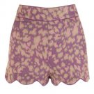 Darling Sinead Pin-Up Style High Waisted Linen Mix Shorts Orchid Print RRP £45
