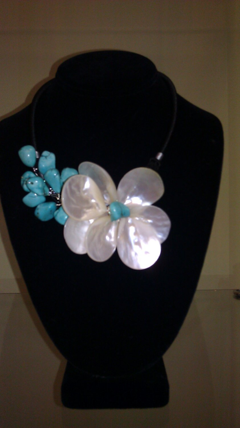 Blue turquoise and mother of pearl flower