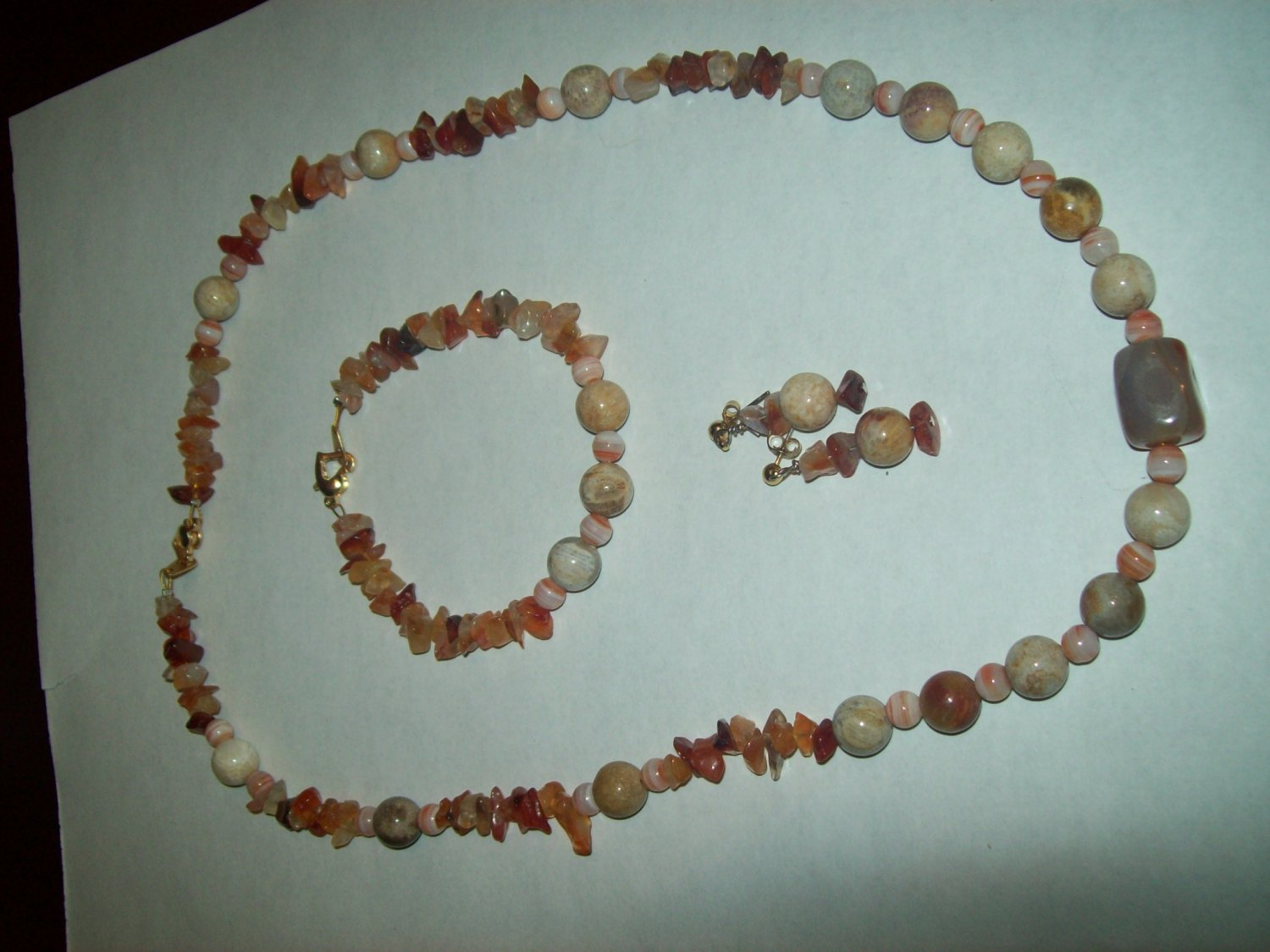 Red Agate and Fossil Necklace Set