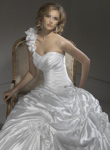 Pleat Embellished Single Shoulder Wedding Bridal Prom Dress