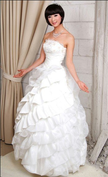 Custom Made- Tiered Beaded Lace Tube Formal Dress White Wedding Bridal Prom Dress