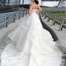 Custom Made- Pleated Sequin Embroidery Bustier Dress White Wedding Bridal Prom Dress