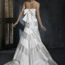 Custom Made- Back Bowknot Embellished Strapless Wedding Dress Bridesmaid Ball Prom Gown