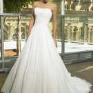 Custom Made- Beads Embellished Strapless Pleated Wedding Dress Cocktail Bridesmaid Ball Prom Gown Q2