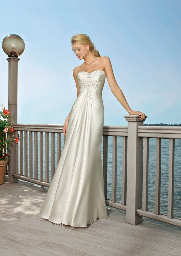 Custom Made- Beads Embellished Strapless Sexy Wedding Dress Cocktail Bridesmaid Ball Prom Gown Q9