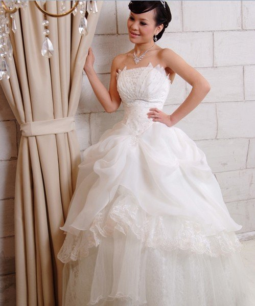Custom Made- Bead Layered Tube White Wedding Dress Cocktail Bridesmaid Ball Prom Gown Y