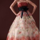Custom Made- Sexy Bride Belted Tube Printed Wedding Dress Cocktail Bridesmaid Ball Prom Gown Y