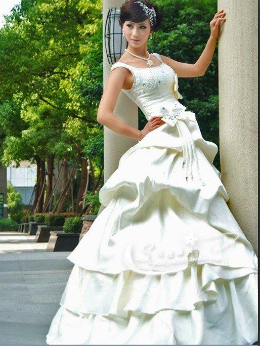 Custom Made- Bowtie Waist Bubble Style Wedding Bride Dress Cocktail Bridesmaid Ball Prom