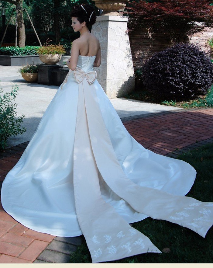 Custom Made- Bowknot Zip Back Off-Shoulder Wedding Bride Dress Cocktail Bridesmaid Ball Prom Y