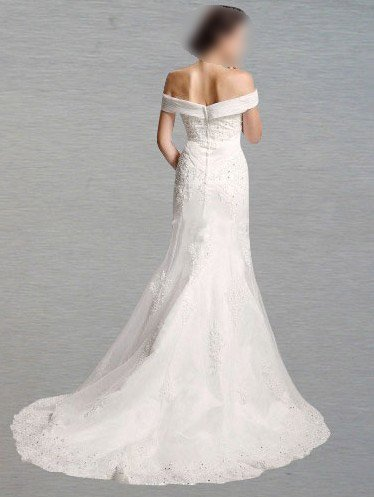 Custom Made- Court Train Off-shoulder Embroidery Wedding Bride Dress Cocktail Bridesmaid Ball Prom Y