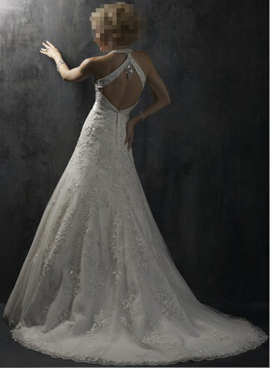 Custom Made- Deep V-Neck Floral Embellish Halter Wedding Bride Dress Cocktail Bridesmaid Ball Prom Y