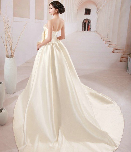 Custom Made- Diamond Embellished Bowknot Wedding Bride Dress Cocktail Bridesmaid Ball Prom