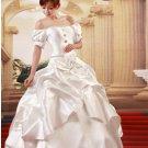 Custom Made- Elegant Bowknot Pleated Short Sleeve Wedding Bride Dress Cocktail Bridesmaid Ball Prom