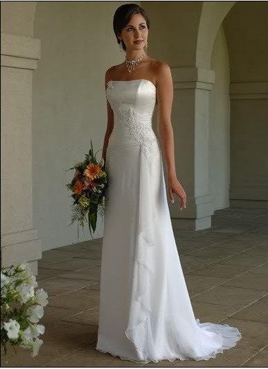 Custom Made- Embroidery Bead Embellish Strapless Wedding Bride Dress Cocktail Bridesmaid Ball Prom1