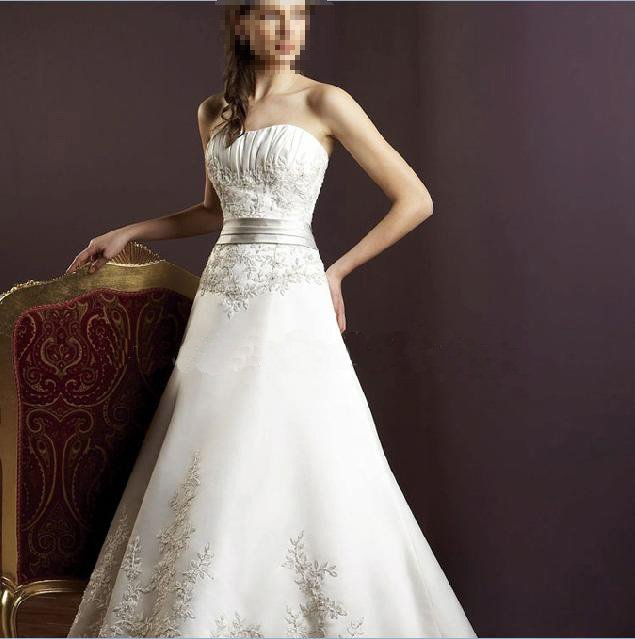Custom Made- Embroidery Pleated Strapless Wedding Bride Dress Cocktail Bridesmaid Ball Prom R5