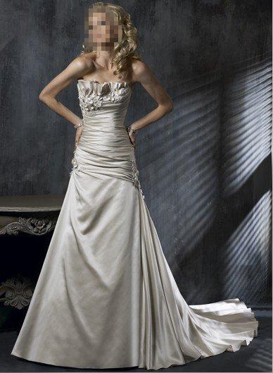 Custom Made- Flower Embellish Pleat Strapless Wedding Bride Dress Cocktail Bridesmaid Ball Prom S6