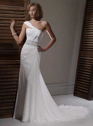 Custom Made- Sexy Single Shoulder Pleated Wedding Bride Dress Cocktail Bridesmaid Ball Prom S7