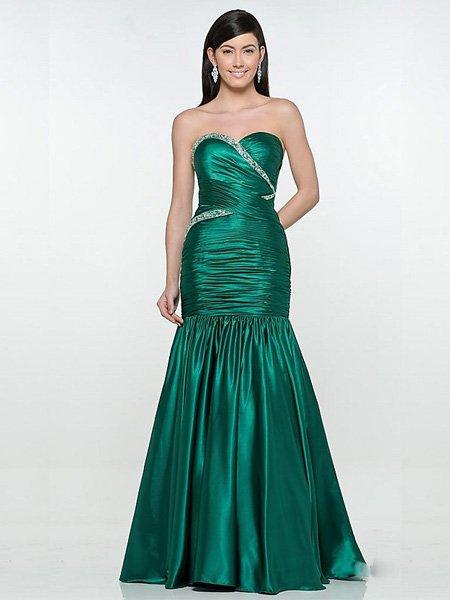 2011 Elegant Hunter Strapless Sweetheart Evening Dress Bridesmaid