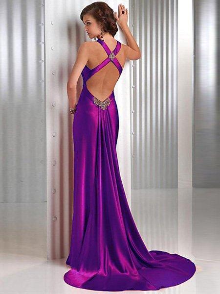 Elegant Red Cross Neck Straps Floor Length V Neck Evening Gown