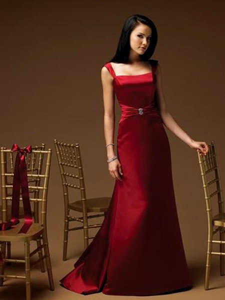 Vintage Elegant Red Square Long Evening Dress Bridesmaid Wedding