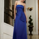 Long Elegant Blue Strapless Evening Dress Prom Bridesmaid Wedding