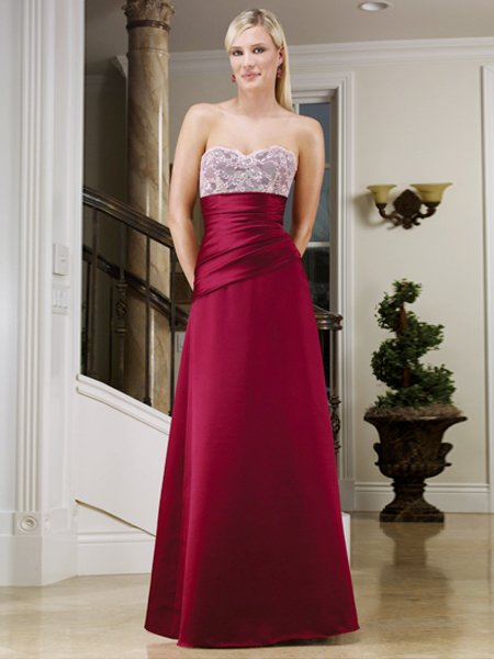 2011 Elegant Red Strapless Prom Formal Evening Dress Bridesmaid Wedding