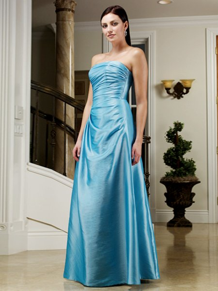 2011 Elegant Blue Strapless Long Formal Evening Dress Bridesmaid Wedding