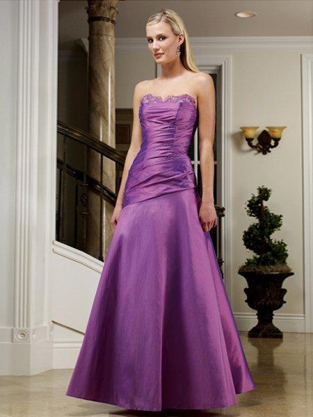 Elegant Purple Strapless Beads Pleated Evening Dress Bridesmaid Wedding