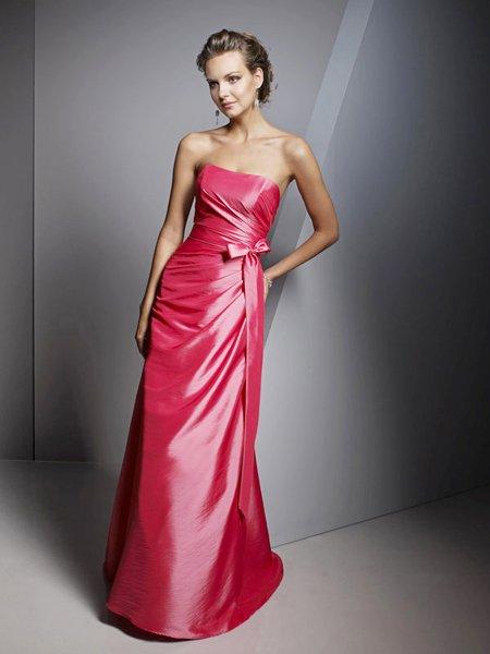 Designer Red Strapless Formal Long Evening  Prom Bridesmaid Wedding