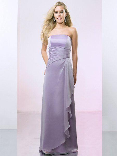Purple Strapless Pleated Long Formal Evening Dress Prom Bridesmaid Wedding