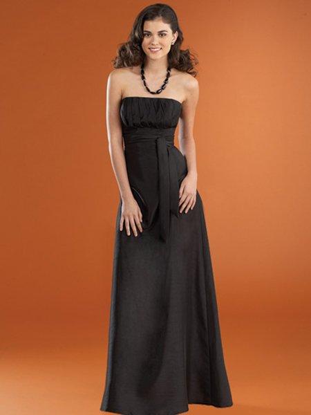 Designer Black Strapless Empire Waist Evening Dress Prom Bridesmaid Wedding