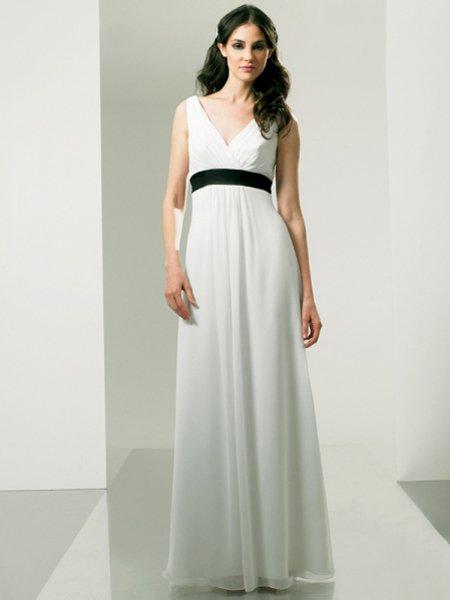 Long Formal White V Neck Designer Evening Dress Prom Bridesmaid Wedding