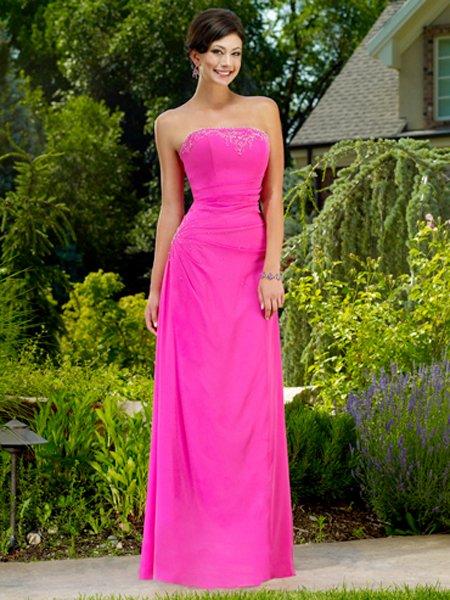 Elegant Pink Strapless Beadings Long Evening Formal Dress Prom Bridesmaid Wedding