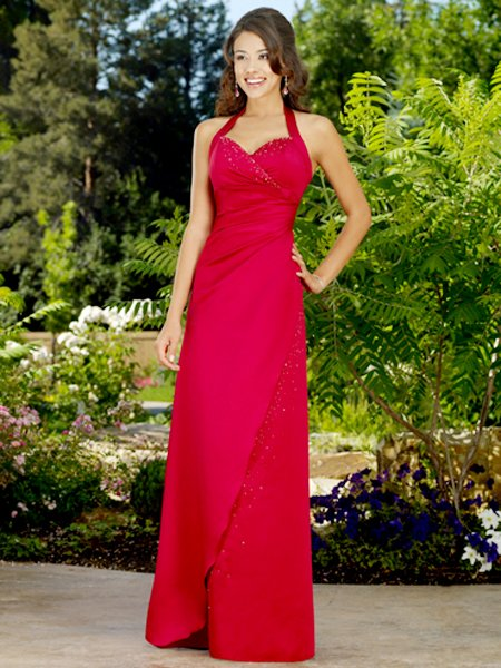 Elegant Red Halter Beadings Evening Dress Formal Prom Bridesmaid Wedding