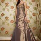Elegant Brown Spaghetti Straps Beadings Evening Dress Prom Bridesmaid Wedding