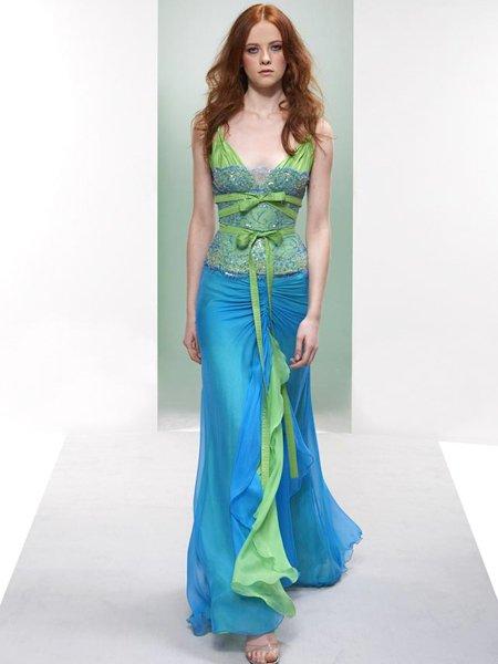 Celebrity Elegant Blue And Green V Neck Evening Dress Prom Bridesmaid Wedding