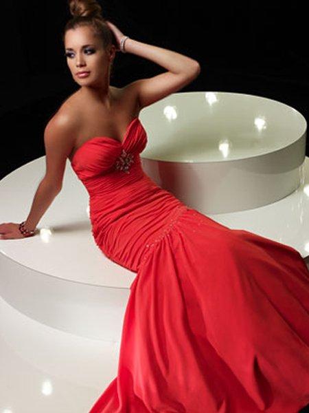 Formal Elegant Red Sweetheart Strapless Ruffles Beading Mermaid Ball Gown Prom Bridesmaid Wedding