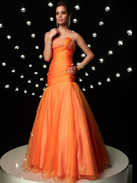 Elegant Orange Strapless Beading Mermaid Evening Dress Cocktail Prom Bridesmaid Wedding