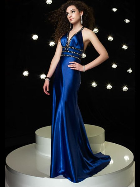 Elegant Royal Blue Rhinestone Empire Waist Evening Dress Cocktail Prom Bridesmaid Wedding