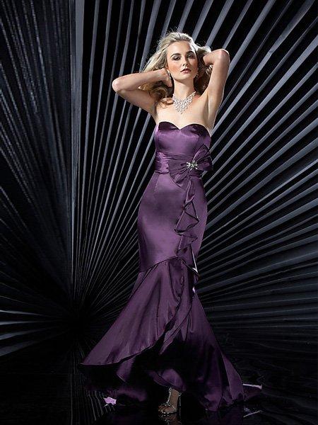 Hot Sale Elegant Grape Strapless Sweetheart Evening Dress Cocktail Prom Bridesmaid Wedding
