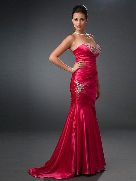 Hot Sale Elegant Fuchsia Strapless Sweetheart Evening Dress Cocktail Prom Bridesmaid Wedding