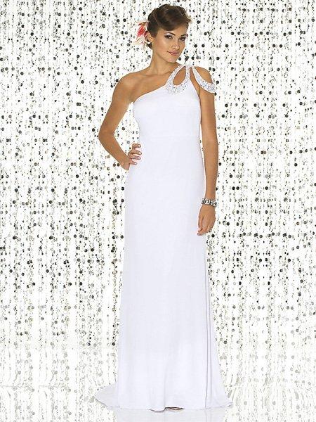 Custom Made Design White One Strap Tube Top Evening Dress Cocktail Prom Bridesmaid Wedding