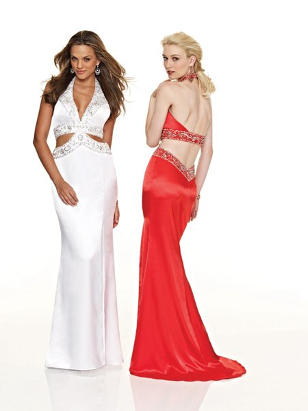 Hot Sale Sexy Elegant Halter Beading Empire Waist Evening Dress Cocktail Prom Bridesmaid Wedding