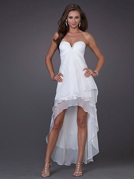 Custom Made Design White Strapless V Neck Evening Dress Cocktail Prom Bridesmaid Wedding